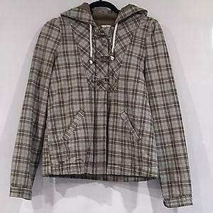 Roxy• plaid full zip hooded spring/fall jacket